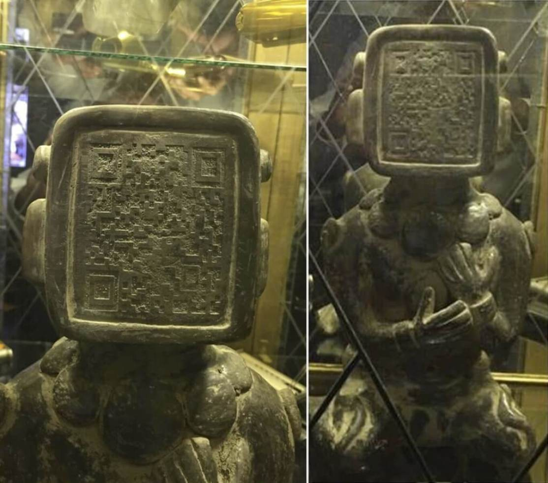 Ancient Mayan Statue with QR Code Face. Aliens Warning Us? 7