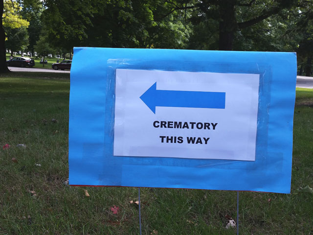 A sign points the way to the crematory during Doors Open Milwaukee
