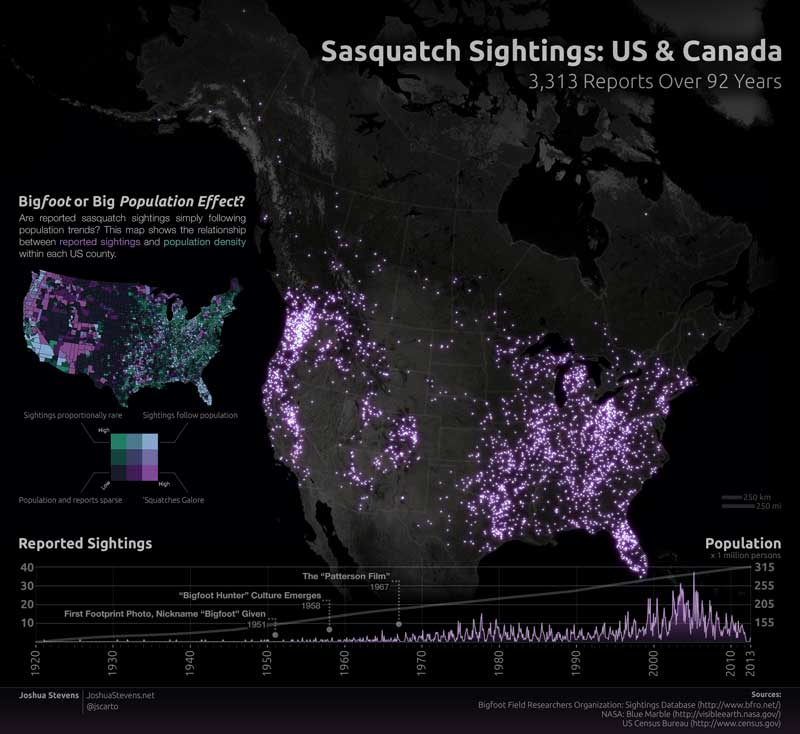 92 years of Bigfoot reports made in to a map 1