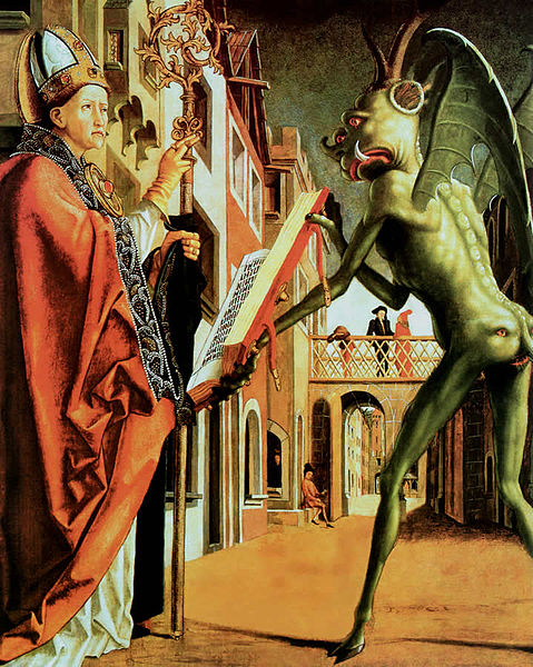 """Wolfgang and the Devil"", Michael Pacher, 1483. *Note the reptilian form the devil takes on*"