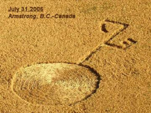 Bizarre-looking approx. 100' long crop circle found near Armstrong, B.C. on same day eyewitness observes UFO of this exact design. Photo: Clarence Glaicar, Aug. 2nd.