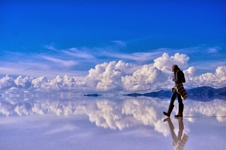 Reflective salt flats in Bolivia