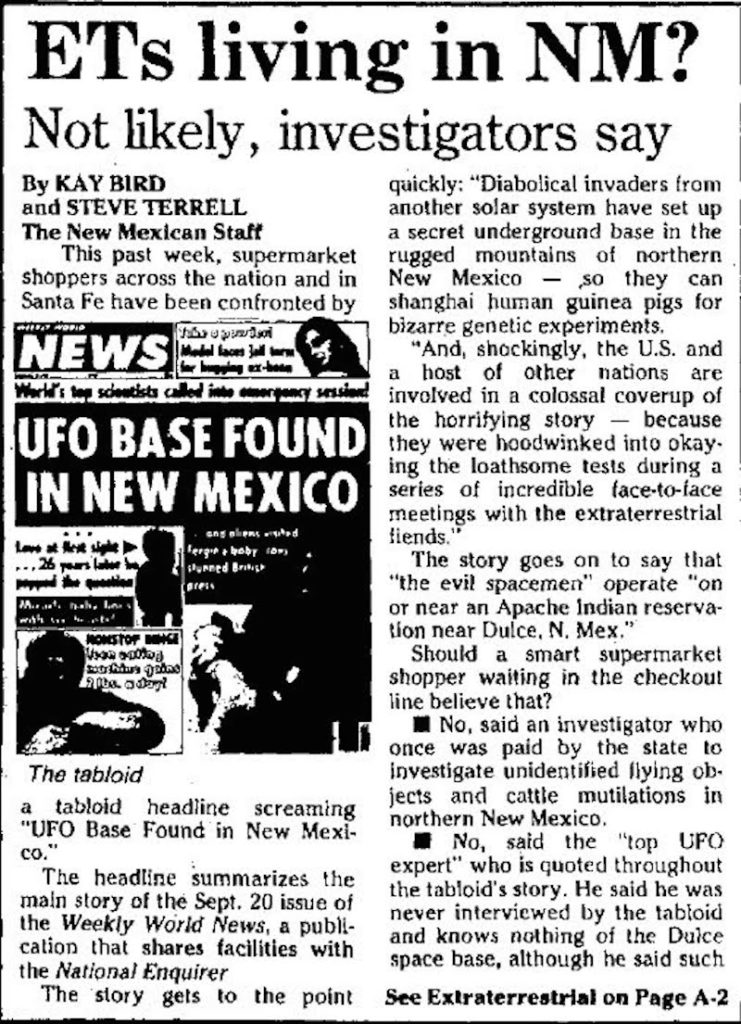 ETs Living in New Mexico Not Likely Investigators Say (A) - Santa Fe New Mexican 9-11-1988
