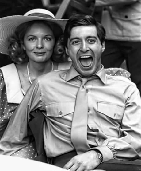 Diane Keaton and Al Pacino on set for The Godfather 1972