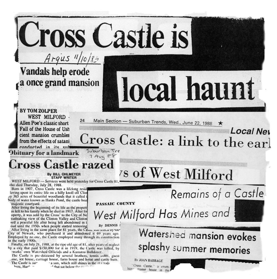Newspaper clippings of mysterious occurrences at Cross Castle. The remains of the structure were demolished in the late-1980s, though the foundations can still be seen via hiking paths.