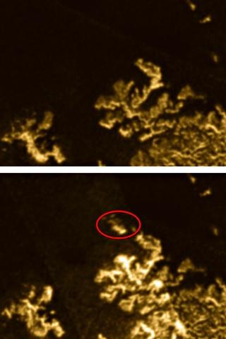 Mystery island vanishes on Saturn's moon Titan 4