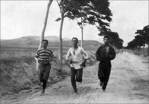 Marathon Runners at the first modern Olympic Games held in Athens, Greece - 1896