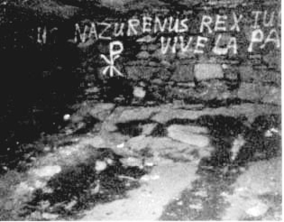 This image, taken in the late-1970s, shows satanic writing on the walls of Cross Castle.