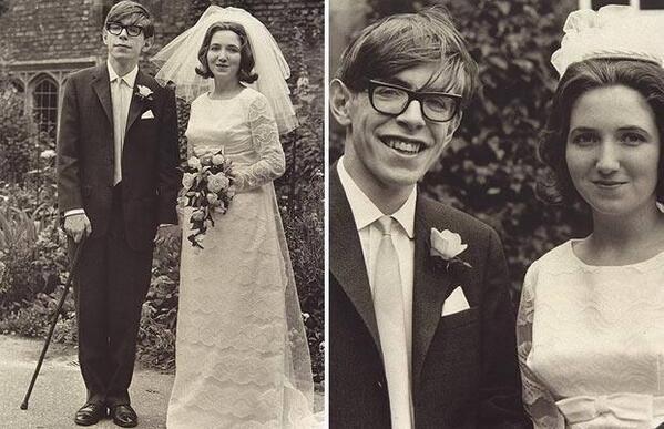 Steven Hawking with his bride, Jane Wilde