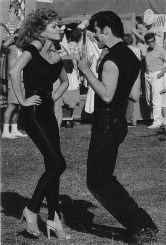 John Travolta & Olivia Newton John rehearsing for