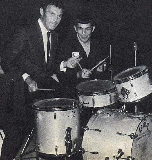 Adam West (Batman) & Leonard Nemoy (Spock) goof around on a drumset