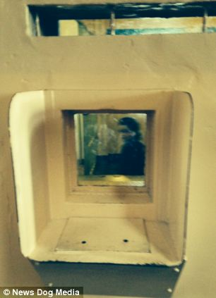 A ghostly image is seen in a picture of an empty cell in the notorious Alcatraz prison off the coast of San Fransisco