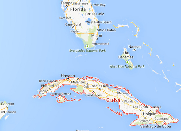 The witness in Case 57018 stated that the Coast Guard vessel was near Cuba. (Credit: Google)