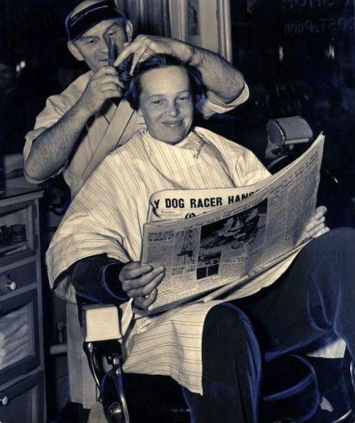 Amelia Earhart getting her last haircut - 1937