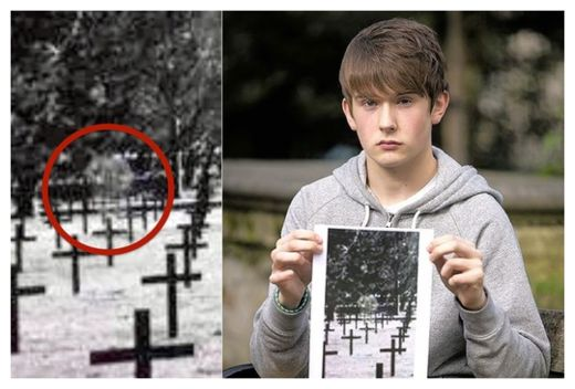 Schoolboy's picture captures ghost of Scots soldier standing over rows of German graves  98