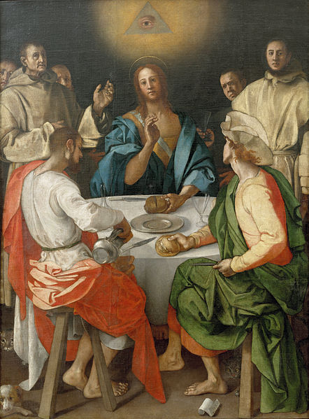 1525 Jacopo Pontormo painting containing the Eye of Providence within a triangle