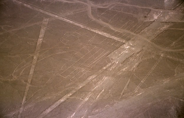 The largest geoglyph is a 935ft-long (285 metre) pelican (pictured). Most of the lines are formed by a shallow trench with a depth of between four inches (10cm) and six inches (15cm), made by removing the iron oxide-coated pebbles that cover the surface of the Nazca desert to expose the light-coloured earth beneath