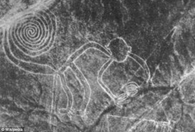 In general terms the geoglyphs fall into two categories: the first group, of which about 70 have been identified, are said to represent natural objects, such as animals, birds and insects. The monkey is pictured