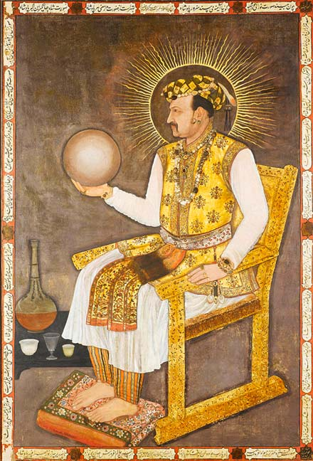 A detailed portrait of the Mughal Emperor Jahangir holding a globe