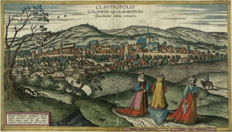 17th century view of Cluj-Napoca. Painting by Egidius van der Rye, engraving by Joris Hoefnagel (1542–1600). (Wikimedia Commons)