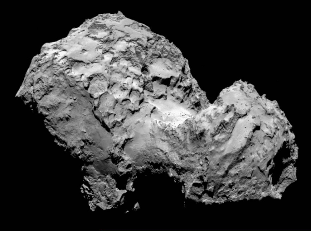 IN SPACE - AUGUST 3:  In this handout from the European Space Agency (ESA), the comet Comet 67P/Churyumov-Gerasimenko is seen in a photo taken by the Rosetta spacecraft with the OSIRIS narrow-angle camera August 3, 2014 in space. ESA's Rosetta spacecraft became the first to rendezvous with a comet and will follow it on the journey around the sun.   (Photo by ESA/Rosetta/MPS for OSIRIS Team MPS/UPD/LAM/IAA/SSO/INTA/UPM/DASP/IDA via Getty Images)