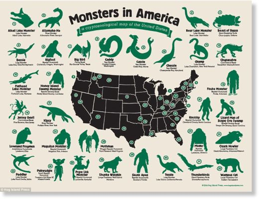 United monsters of America: Infographic shows the location of strange beasts 101