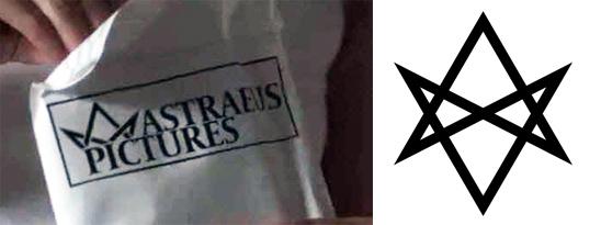 Left : The logo of Astraeus Pictures. Right : A full unicursal hexagram.