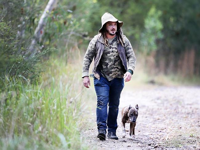 Jake Cassar, with his dog Benson, from Kariong. Picture: Peter Clark