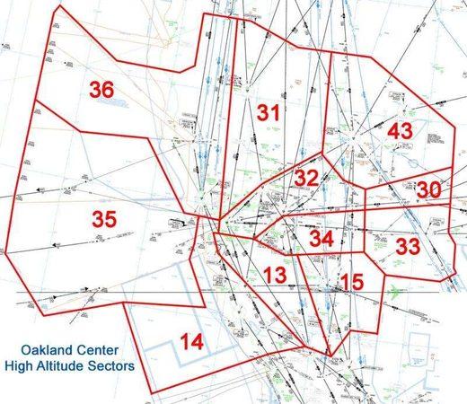 Oakland high altitude sectors FAA