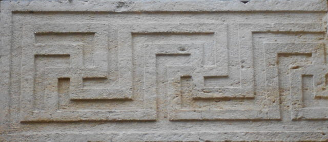 Swastika pattern in a Venetian palace that likely follows a Roman pattern, at Palazzo Roncale, Rovigo.