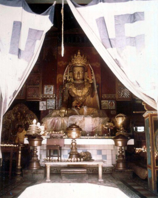 Nepalese Buddhist gompa, Swayambhunath, Kathmandu, showing swastika designs on curtains. 1973