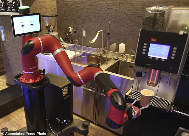 One-armed barista robot begins serving coffee at new cafe in Japan's capital 95