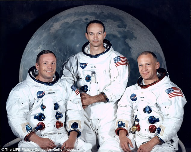 Apollo 11 astronaut Buzz Aldrin (right) has reportedly passed a lie detector test after recalling his apparent encounter with alien life during the 1969 mission to the moon. Pictured are Neil Armstrong (left) and Michael Collins (center)