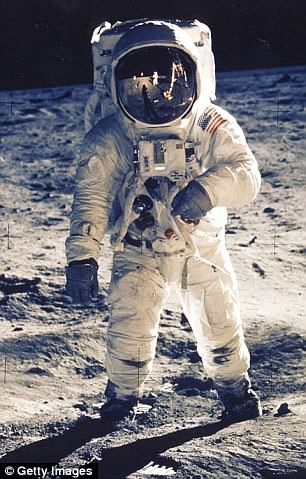 Aldrin (pictured on the moon), 88, participated in the test along with astronauts Al Worden, Edgar Mitchell and Gordon Cooper