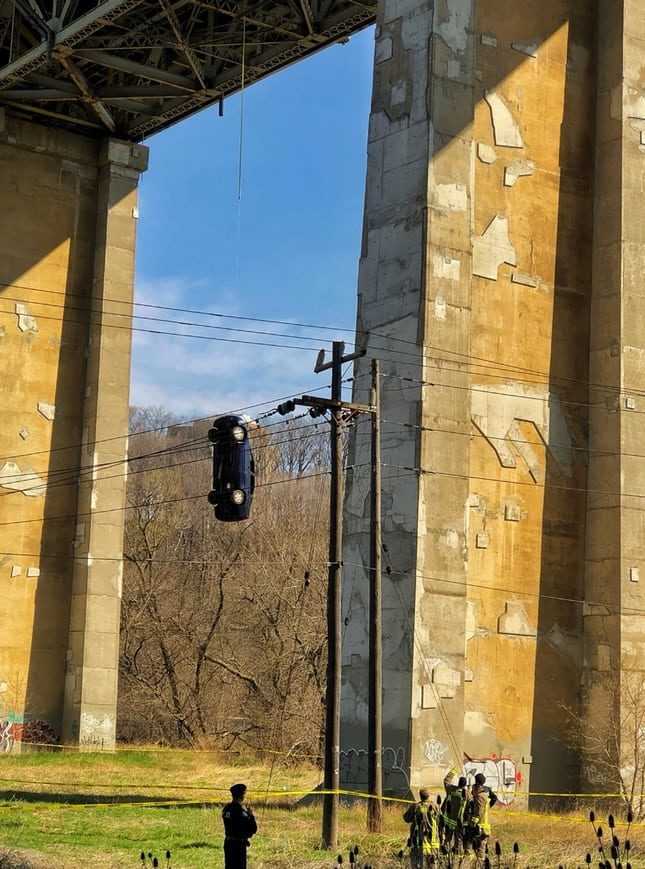 Prop or prank? Mystery car hanging from bridge perplexes Toronto residents 1