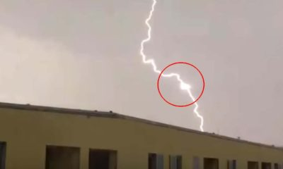 Photograph of a triangular UFO feeding the energy of lightning in the Czech Republic 109