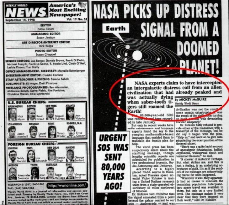 SOS signal from Andromeda