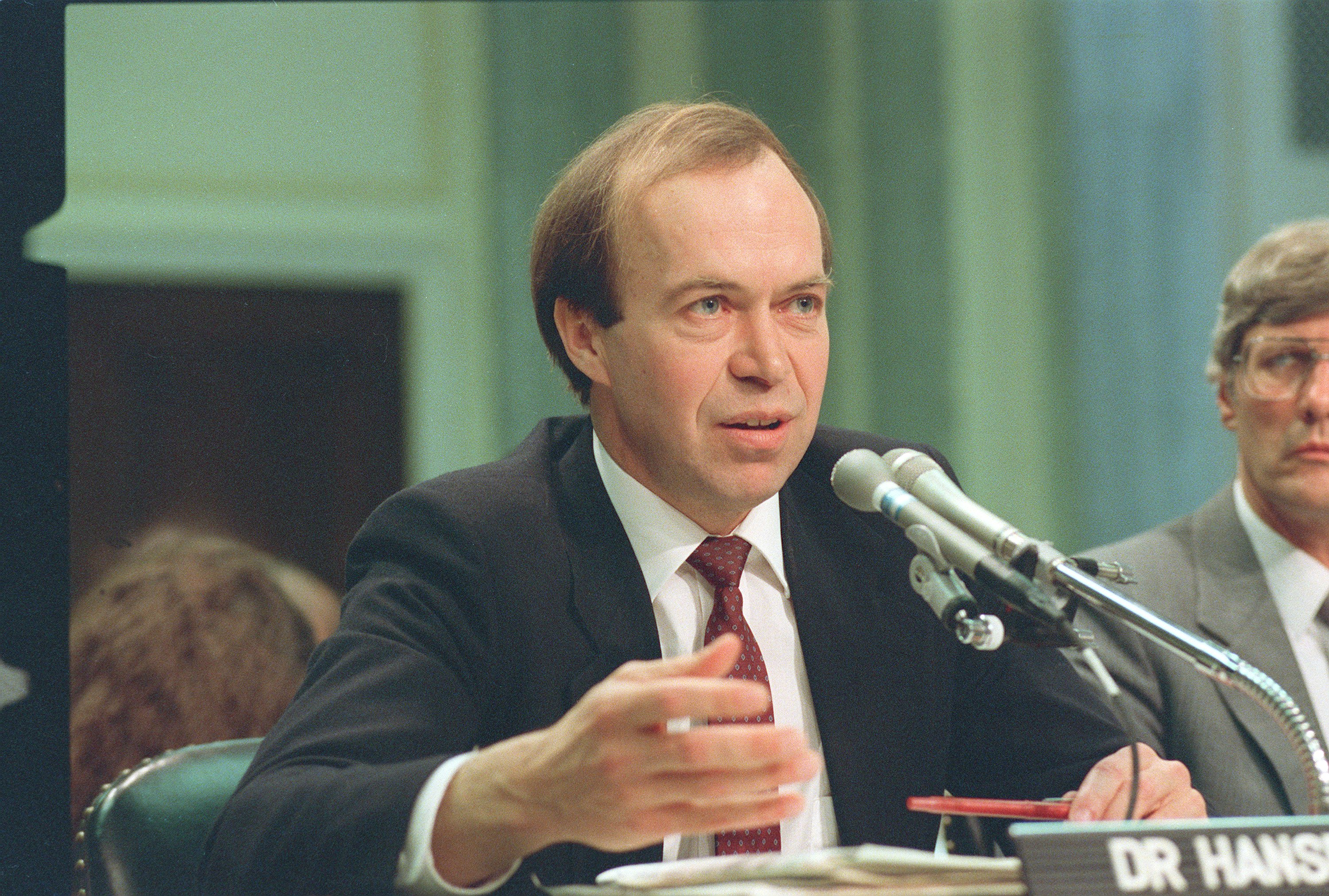 James Hansen testifying to Congress in 1988 (AP Photo/Dennis Cook)