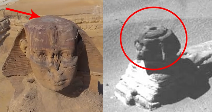 There is a hole in the Sphinx's head and it is now Covered Up 10