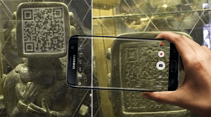 Ancient Mayan Statue with QR Code Face. Aliens Warning Us? 5