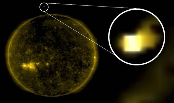 Earth Earth Sun - Images from NASA show a cube the size of Earth entering the Sun cube shaped UFO