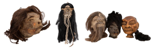 Vintage shrunken heads from South America