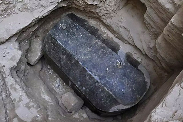 Massive black sarcophagus discovered in Alexandria