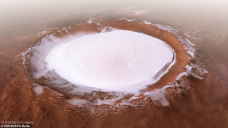Stunning images reveal gigantic ice filled crater on the surface of Mars 10