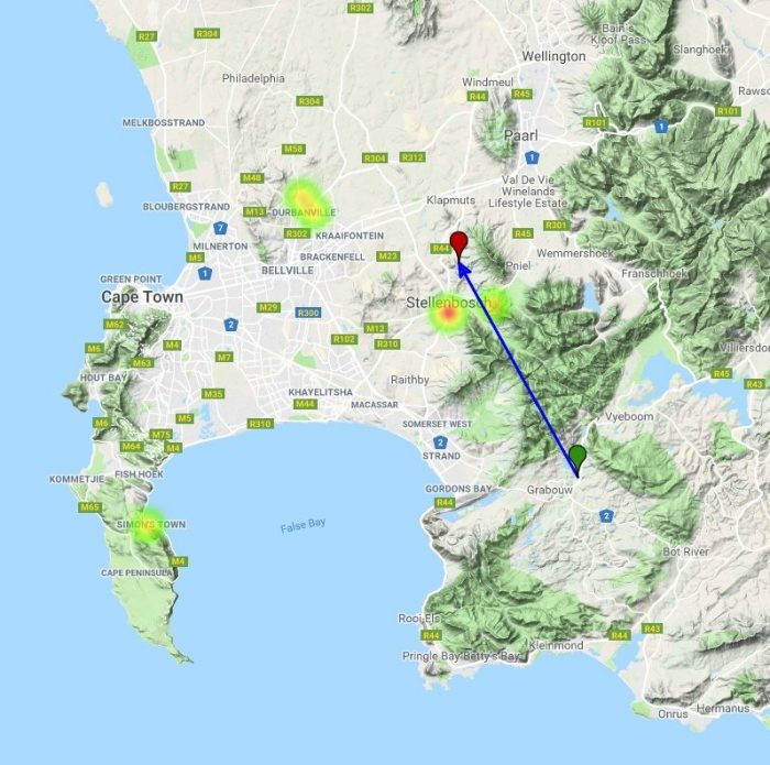 Trajectory and eyewitness heatmap - South Africa fireball, January 16, 2019. Credit: AMS