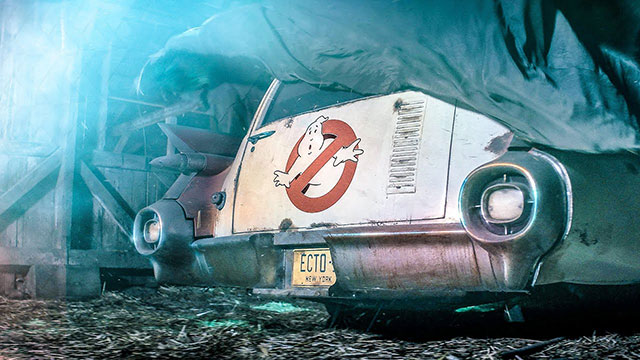 A rusting Ecto-1 from the Ghostbusters teaser trailer