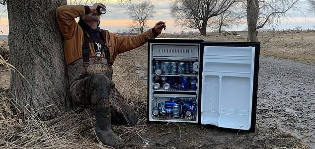 Fridge full of beer found in field after flood 1