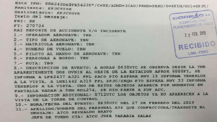 UFOs International Airport - Peruvian authorities confirm the presence of two UFOs at Jorge Chávez International Airport