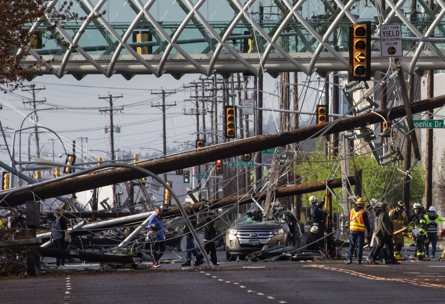 26 electricity poles in a row collapse on a street in Seattle for no apparent reason 86