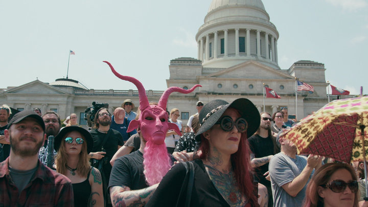 Satanic Temple supporters gatherat an August 2018 rally for religious liberty in Little Rock, Arkansas.